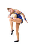 Teenager doing gymnastics exercises with gymnastic ball. isolated Royalty Free Stock Images