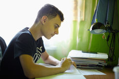 Teenager doing homework Stock Photos