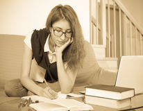 Teenager doing homework Royalty Free Stock Image