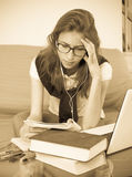 Teenager doing homework Stock Image