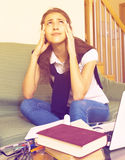 Teenager doing homework Royalty Free Stock Photography