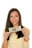 Teenager with dollar banknote Stock Photography