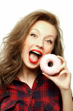 Teenager with a donut Stock Photography