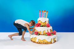 Teenager drags a cake Stock Photos