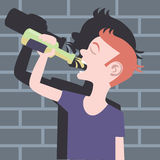 Teenager drinking beer bottle Royalty Free Stock Photography