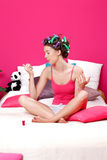 Teenager drying her nails Royalty Free Stock Images