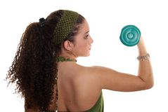 Teenager with Dumbbell. Healthy teenager working out with dumbbell royalty free stock photos
