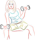 Teenager with dumbbell royalty free illustration