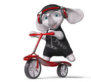 Teenager elephant riding scooter  3d render Stock Image