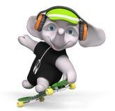 Teenager elephant skateboarding  3d render Royalty Free Stock Photo