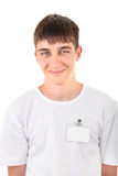 Teenager with Empty Badge Royalty Free Stock Photography