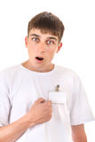 Teenager with Empty Badge Stock Photography