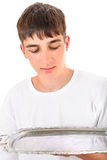 Teenager with Empty Salver Stock Images