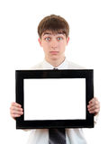 Teenager with Empty Signboard Royalty Free Stock Photos