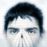 Teenager Face closeup. Intent Look of Teenager keeping an eyes contact stock images