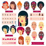 Teenager face constructor vector teen character girl or boy avatar creation illustration set of facial elements. Construction with hairstyle of Japanese or Royalty Free Stock Photography