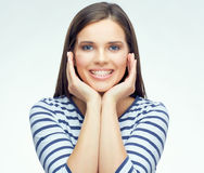 Teenager face portrait with braces. White background isolated portrait Royalty Free Stock Photo