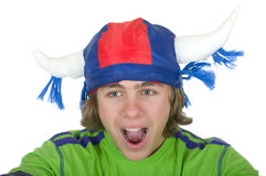 Teenager in a fan helmet. On a white background Royalty Free Stock Photography