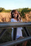 Teenager at farm royalty free stock photography