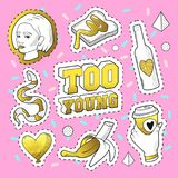 Teenager Fashion 80s-90s Golden Badges, Patches with Snake, Banana, Hand and Girl. Comic Style Isolated Stickers Pins. Teenager Fashion 80s-90s Golden Badges Royalty Free Stock Photography