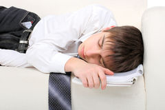 Teenager fast asleep Royalty Free Stock Images