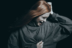 Teenager feeling a heartache. Over the intense sorrow Stock Images