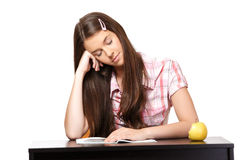 Teenager fell asleep in class Royalty Free Stock Photos