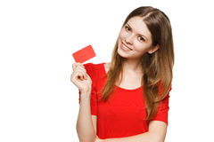 Teenager female holding empty credit card Royalty Free Stock Photos