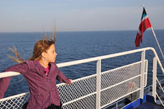Teenager ferry portrait. Beauty teenager in ferry trip Royalty Free Stock Photo