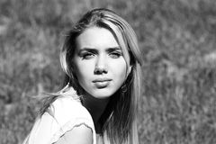 Teenager in field Stock Photo