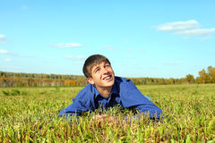 Teenager in the field Royalty Free Stock Photo