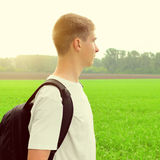 Teenager at the Field Stock Image