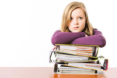Teenager with file folders Royalty Free Stock Photo