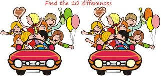 Teenager-find 10 differences. Search the ten differences in the figures. Car drives youth Stock Images