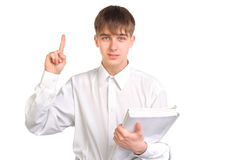 Teenager with finger up Royalty Free Stock Image