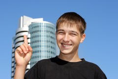 Teenager With Finger Up Stock Photo