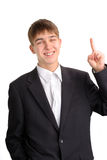 Teenager with finger up Stock Photos