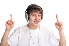 Teenager with fingers up Stock Photo