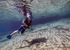 Teenager Finishes Dive - Morrison Springs Royalty Free Stock Photo