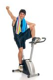 Teenager fitness bike Stock Photo