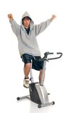 Teenager fitness bike Royalty Free Stock Photo