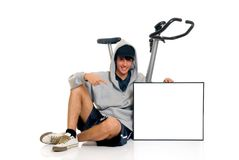 Teenager fitness bike Royalty Free Stock Image