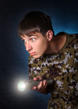 Teenager with Flashlight Royalty Free Stock Photography