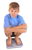 Teenager on floor scales Stock Images