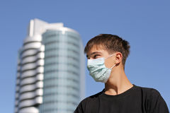 Teenager in Flu Mask Royalty Free Stock Photography