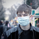 Teenager in the Flu Mask Stock Photo