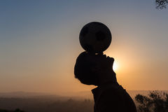 Teenager Football Head Silhouette Royalty Free Stock Photos