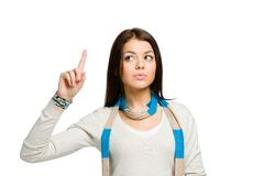 Teenager with forefinger gesture Stock Photo