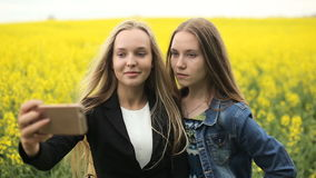 Teenager friends posing and taking selfies stock footage