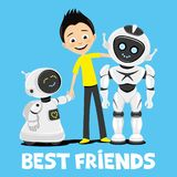 Teenager and funny robots. Teenager and funny robots on blue background royalty free illustration